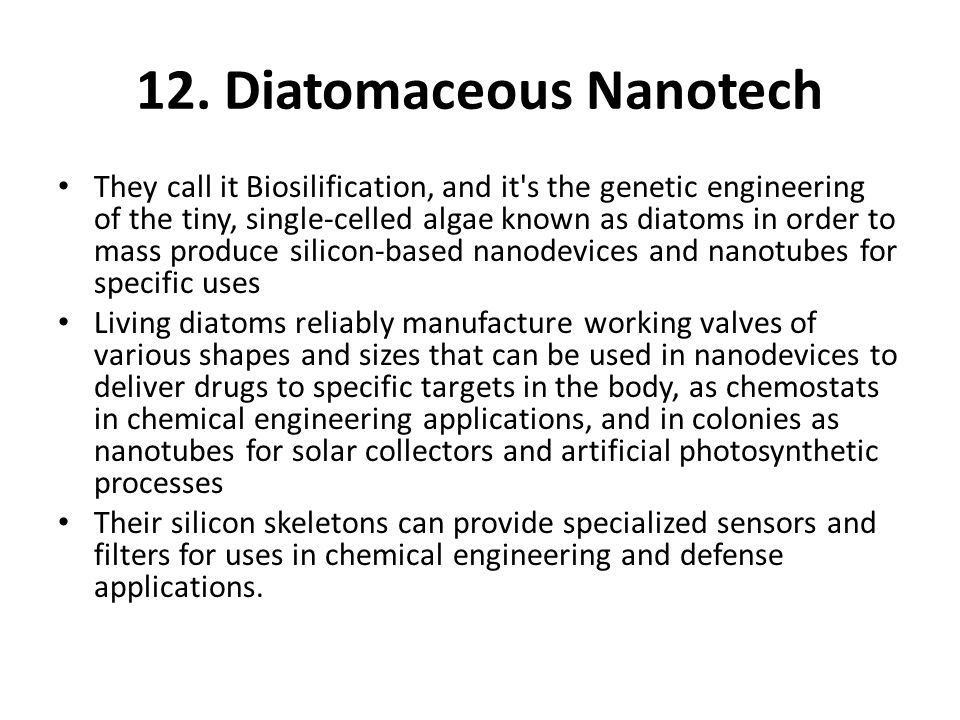 12. Diatomaceous Nanotech They call it Biosilification, and it's the genetic engineering of the tiny, single-celled algae known as diatoms in order to