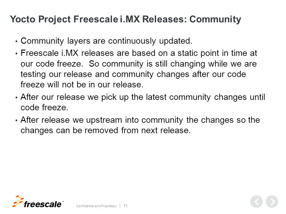 TM Confidential and Proprietary 11 Yocto Project Freescale i.MX Releases: Community Community layers are continuously updated.