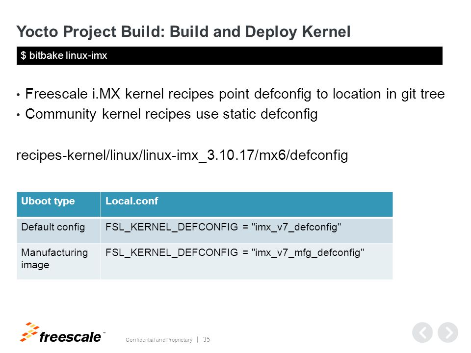 TM Confidential and Proprietary 35 Yocto Project Build: Build and Deploy Kernel Freescale i.MX kernel recipes point defconfig to location in git tree Community kernel recipes use static defconfig recipes-kernel/linux/linux-imx_3.10.17/mx6/defconfig $ bitbake linux-imx Uboot typeLocal.conf Default configFSL_KERNEL_DEFCONFIG = imx_v7_defconfig Manufacturing image FSL_KERNEL_DEFCONFIG = imx_v7_mfg_defconfig