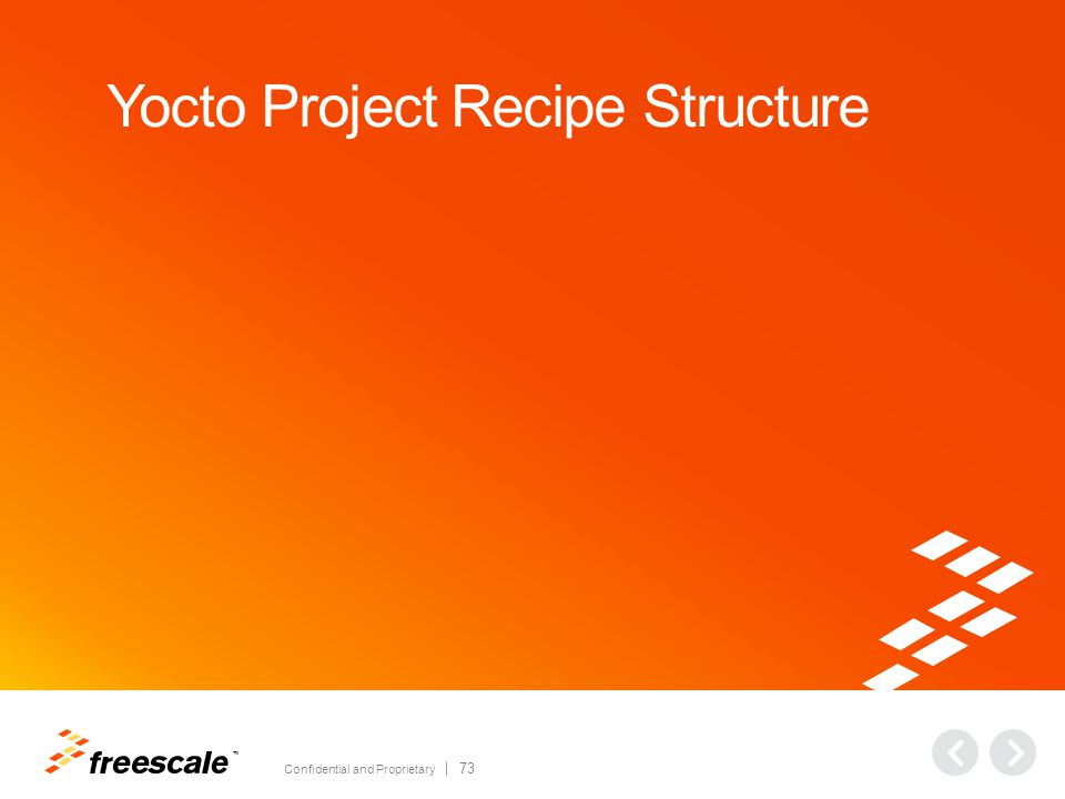 TM Confidential and Proprietary 73 Yocto Project Recipe Structure