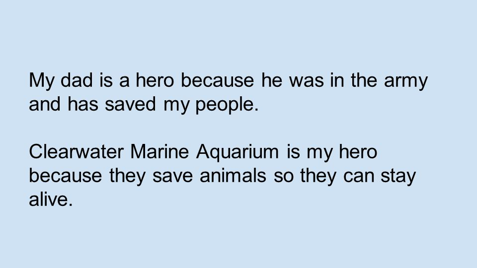 My dad is a hero because he was in the army and has saved my people. Clearwater Marine Aquarium is my hero because they save animals so they can stay