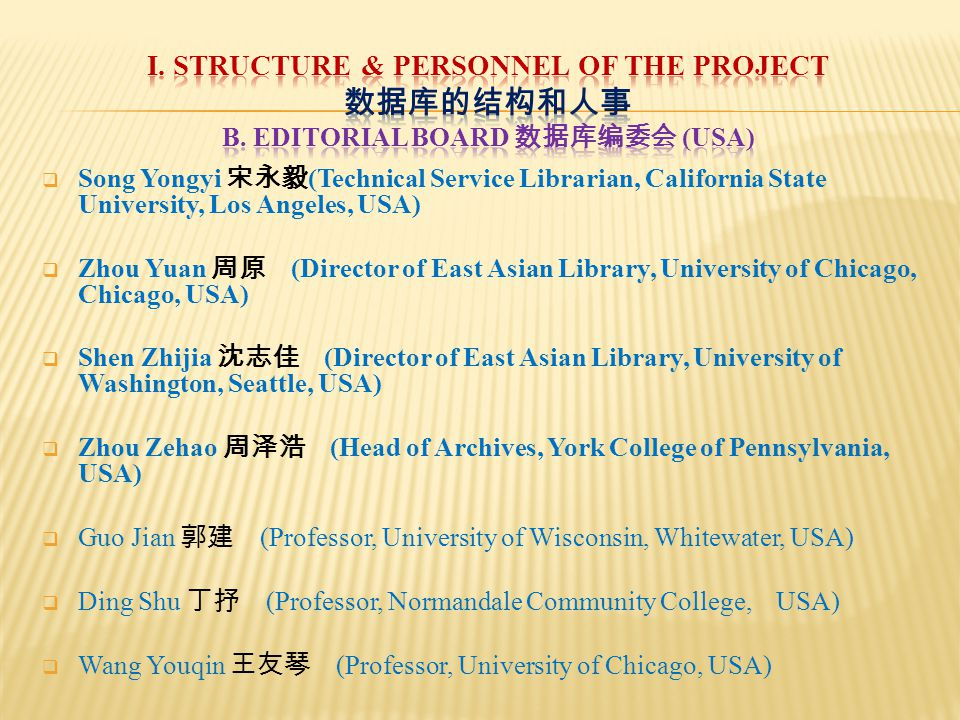  Song Yongyi 宋永毅 (Technical Service Librarian, California State University, Los Angeles, USA)  Zhou Yuan 周原 (Director of East Asian Library, University of Chicago, Chicago, USA)  Shen Zhijia 沈志佳 (Director of East Asian Library, University of Washington, Seattle, USA)  Zhou Zehao 周泽浩 (Head of Archives, York College of Pennsylvania, USA)  Guo Jian 郭建 (Professor, University of Wisconsin, Whitewater, USA)  Ding Shu 丁抒 (Professor, Normandale Community College, USA)  Wang Youqin 王友琴 (Professor, University of Chicago, USA)