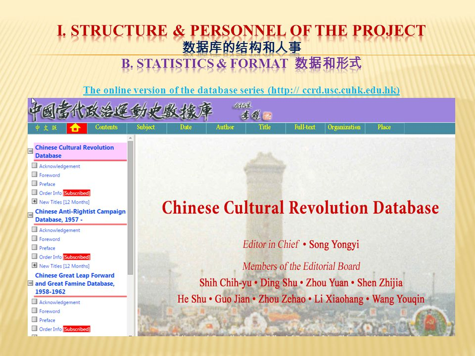 The online version of the database series (http:// ccrd.usc.cuhk.edu.hk)