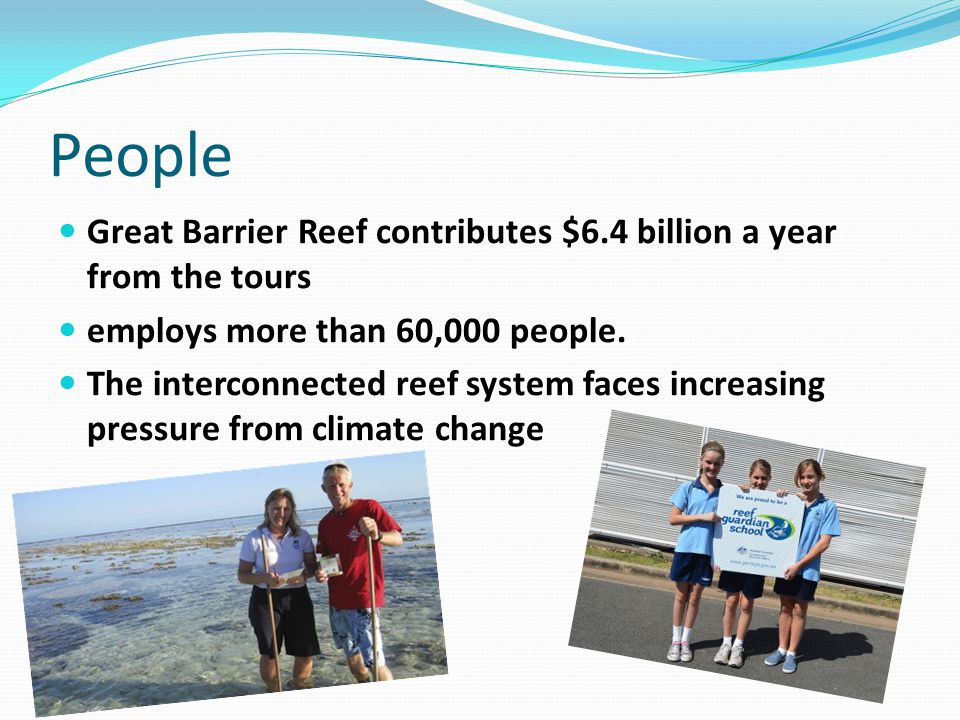 People Great Barrier Reef contributes $6.4 billion a year from the tours employs more than 60,000 people. The interconnected reef system faces increas