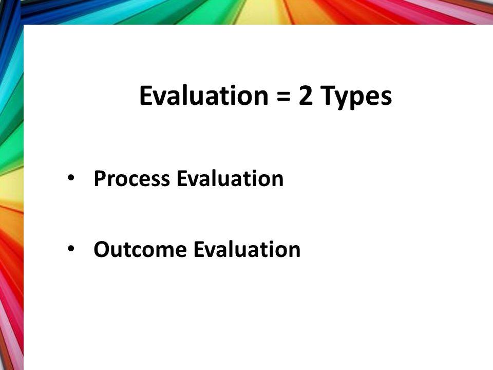 Evaluation = 2 Types Process Evaluation Outcome Evaluation