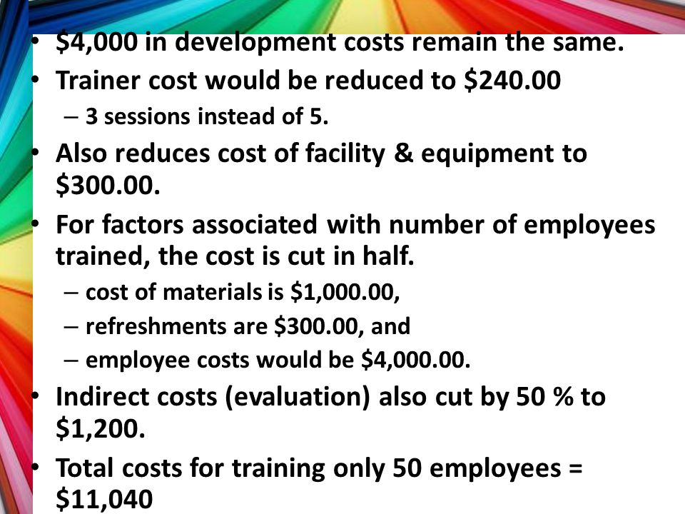 $4,000 in development costs remain the same. Trainer cost would be reduced to $240.00 – 3 sessions instead of 5. Also reduces cost of facility & equip
