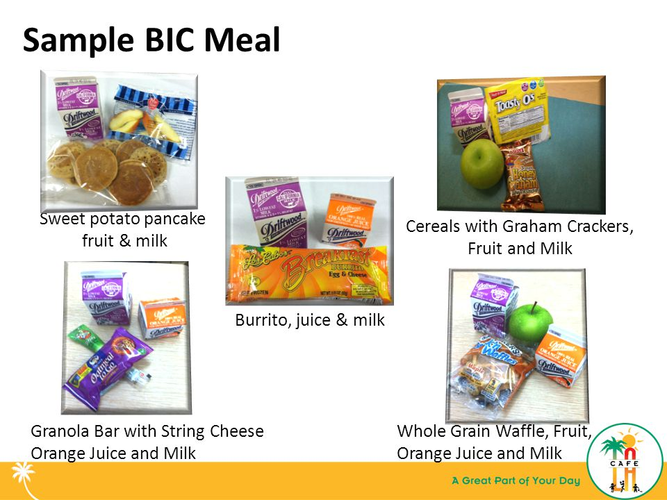Sample BIC Meal Cereals with Graham Crackers, Fruit and Milk Whole Grain Waffle, Fruit, Orange Juice and Milk Sweet potato pancake fruit & milk Granola Bar with String Cheese Orange Juice and Milk Burrito, juice & milk