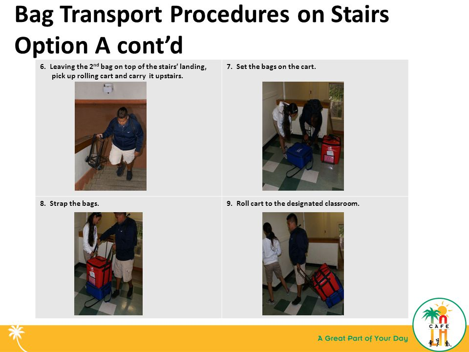 Bag Transport Procedures on Stairs Option A cont'd 6.