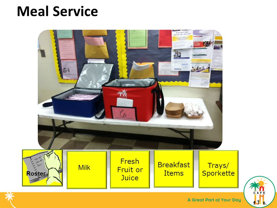 Meal Service Trays/ Sporkette Fresh Fruit or Juice Breakfast Items Roster Milk