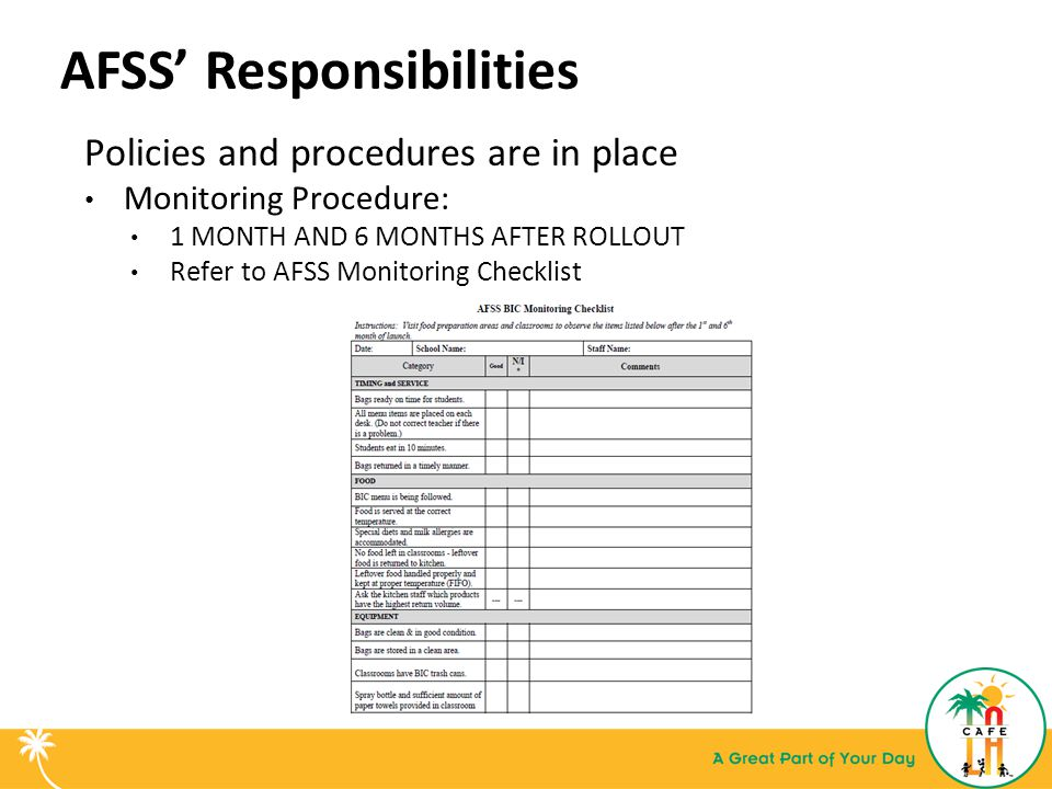 AFSS' Responsibilities Policies and procedures are in place Monitoring Procedure: 1 MONTH AND 6 MONTHS AFTER ROLLOUT Refer to AFSS Monitoring Checklist