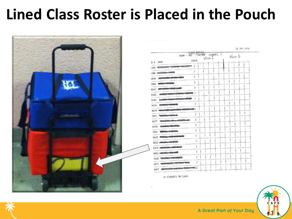 Lined Class Roster is Placed in the Pouch