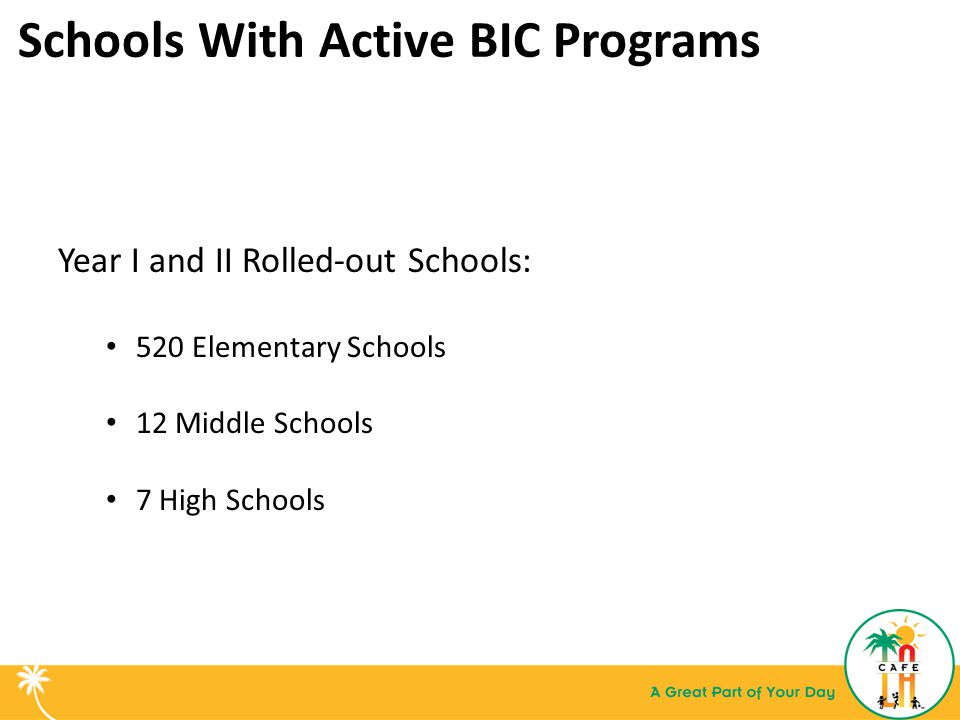 Schools With Active BIC Programs Year I and II Rolled-out Schools: 520 Elementary Schools 12 Middle Schools 7 High Schools