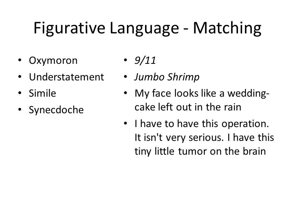 Figurative Language - Matching Oxymoron Understatement Simile Synecdoche 9/11 Jumbo Shrimp My face looks like a wedding- cake left out in the rain I have to have this operation.
