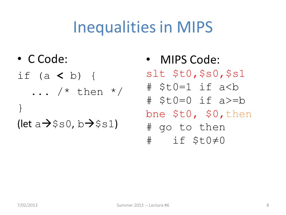 Inequalities in MIPS C Code: if (a < b) {...