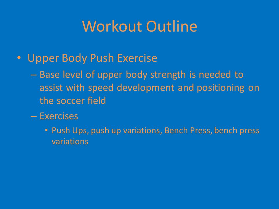 Workout Outline Posterior Chain – Target hamstrings and Glutes Our main hamstring exercise is RDL's – Very important to stress hamstrings to keep quad hip ratio Other exercises – Weighted Bridges, Machine Hamstring Curls, Stability Ball Hamstring Curls, Manual Hamstring Curls, Glute/Ham Raises Unilateral Movements – S.L.