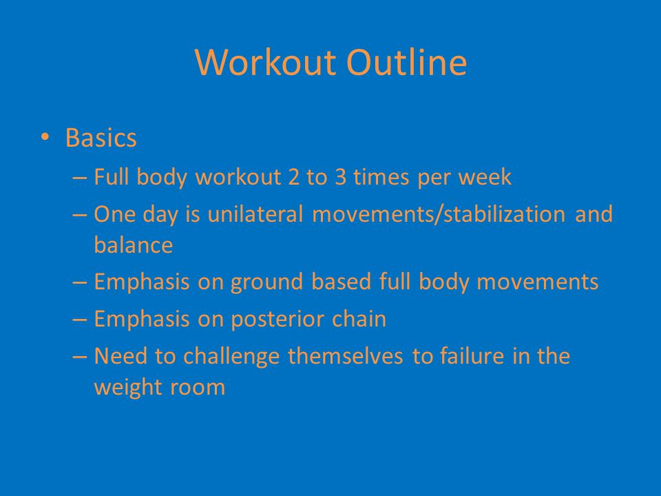 Workout Outline Activation – During warm up we utilize exercises that activate the glutes and other abductor muscles Glutes – Bridges, Band Bridges, Single Leg Bridges » Repitition or holds » Prior to quad hip exercises Abductors – Band Abduction Series, Step outs, Craby Lady, Body Weight Side Kicks » Also incorporated into Core and SAQ