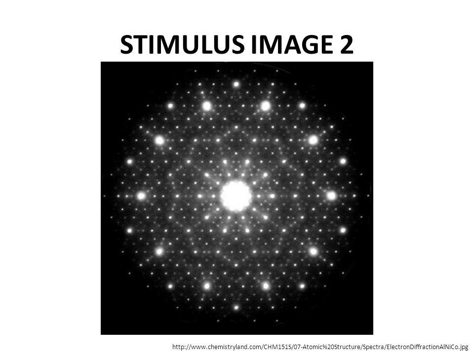 STIMULUS IMAGE 2 http://www.chemistryland.com/CHM151S/07-Atomic%20Structure/Spectra/ElectronDiffractionAlNiCo.jpg