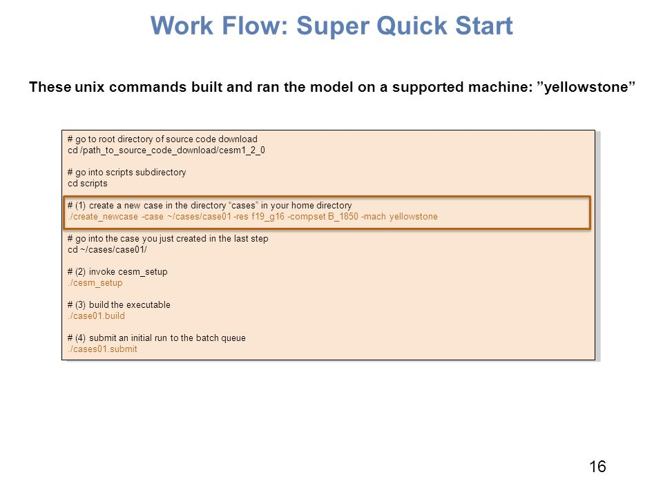 """Work Flow: Super Quick Start These unix commands built and ran the model on a supported machine: """"yellowstone"""" # go to root directory of source code d"""