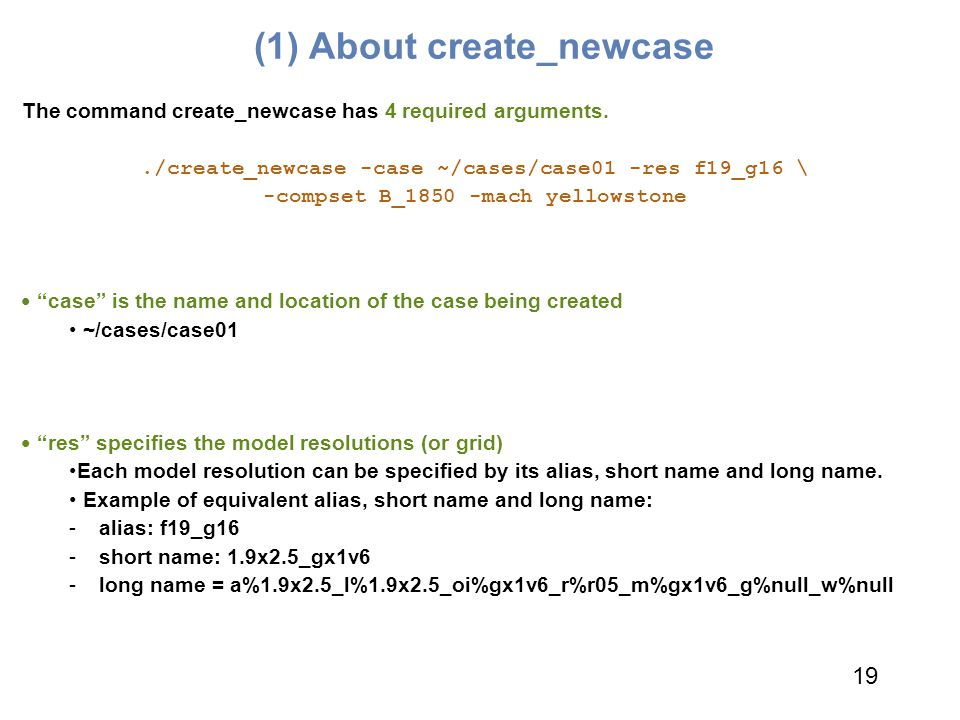 (1) About create_newcase The command create_newcase has 4 required arguments../create_newcase -case ~/cases/case01 -res f19_g16 \ -compset B_1850 -mac