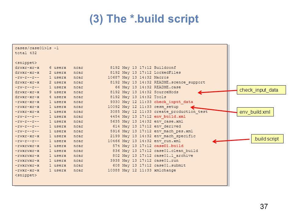 (3) The *.build script cases/case01>ls -l total 432 drwxr-xr-x 6 userx ncar 8192 May 13 17:12 Buildconf drwxr-xr-x 2 userx ncar 8192 May 13 17:12 Lock