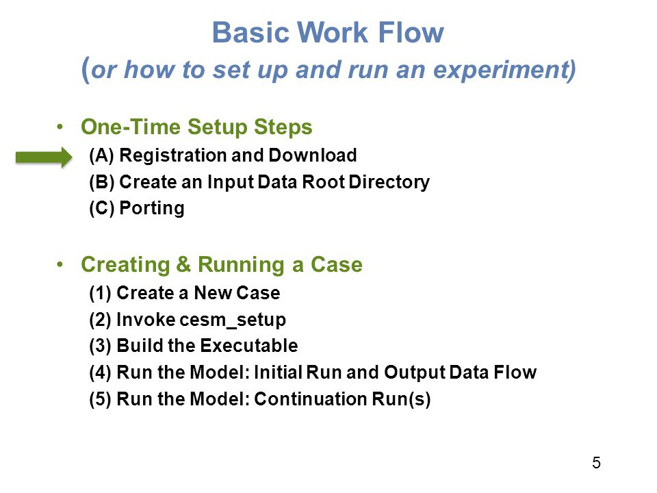Basic Work Flow ( or how to set up and run an experiment) One-Time Setup Steps (A) Registration and Download (B) Create an Input Data Root Directory (