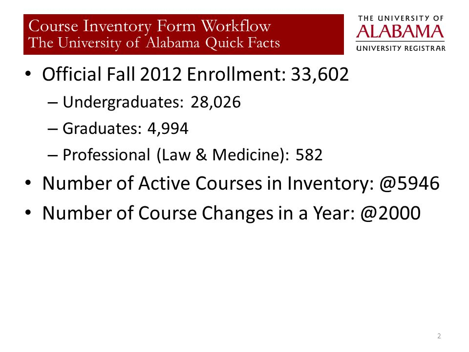 Title Official Fall 2012 Enrollment: 33,602 – Undergraduates: 28,026 – Graduates: 4,994 – Professional (Law & Medicine): 582 Number of Active Courses in Number of Course Changes in a 2 Course Inventory Form Workflow The University of Alabama Quick Facts