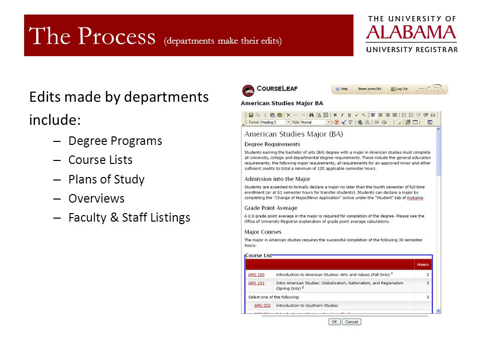 Edits made by departments include: – Degree Programs – Course Lists – Plans of Study – Overviews – Faculty & Staff Listings The Process (departments make their edits)
