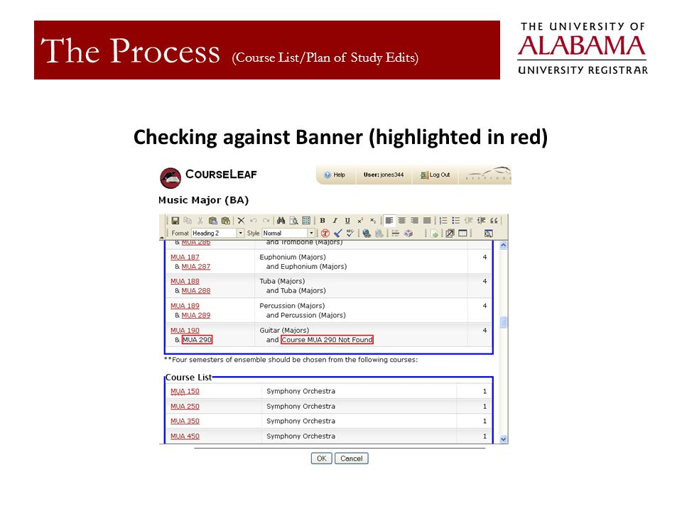 Checking against Banner (highlighted in red)
