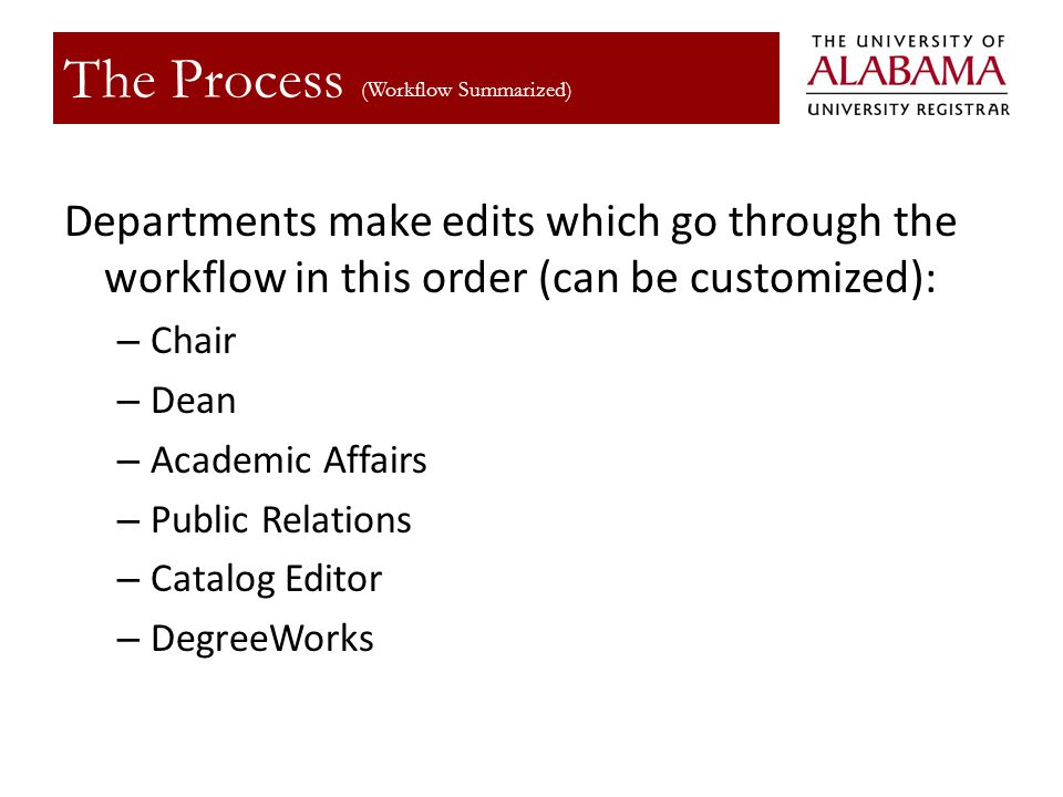 Departments make edits which go through the workflow in this order (can be customized): – Chair – Dean – Academic Affairs – Public Relations – Catalog