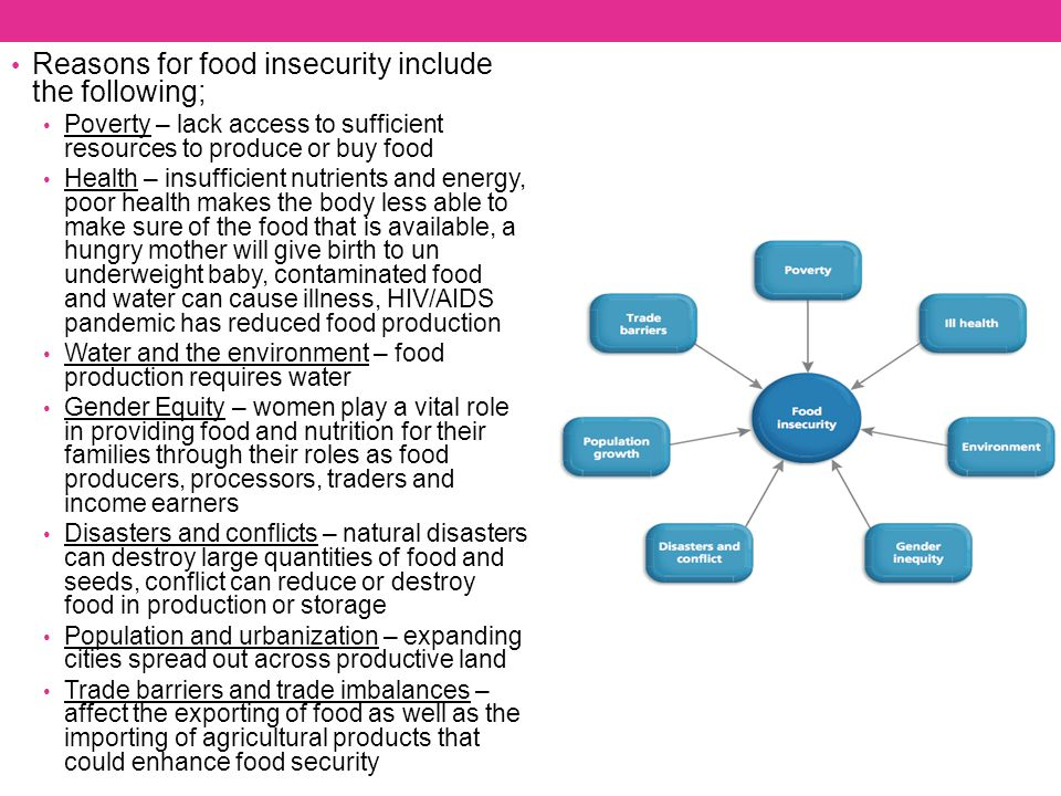 Reasons for food insecurity include the following; Poverty – lack access to sufficient resources to produce or buy food Health – insufficient nutrient