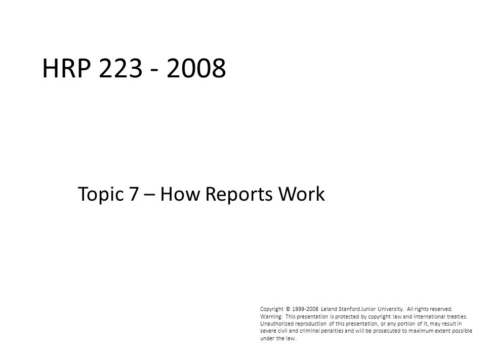 HRP223 2008 File Names  It is convenient to add the name of the project to titles or footnotes.