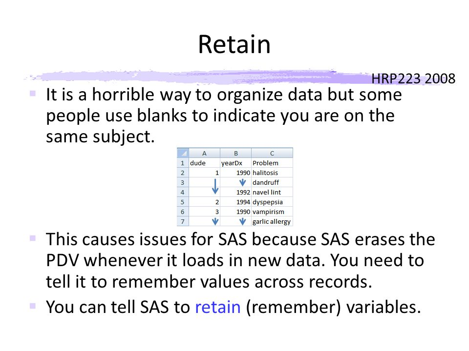 HRP223 2008 Retain  It is a horrible way to organize data but some people use blanks to indicate you are on the same subject.