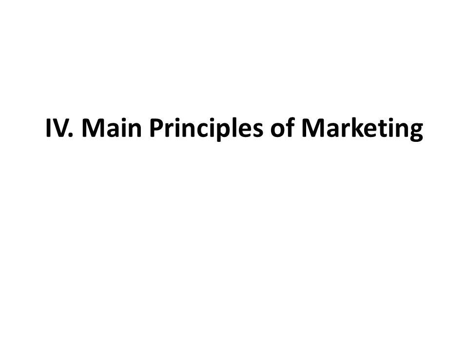 IV. Main Principles of Marketing