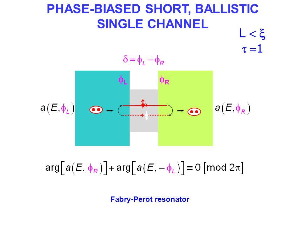 ANDREEV BOUND STATES in a short ballistic channel (  ) Andreev spectrum E(  )  22 ++ -- 0 E→E→ E←E← 2 resonances E ++ -- 0  = 1 LL RR