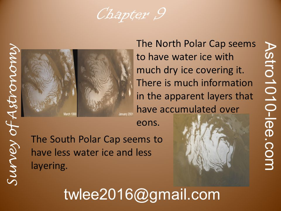 Survey of Astronomy Astro1010-lee.com twlee2016@gmail.com Chapter 9 The North Polar Cap seems to have water ice with much dry ice covering it.