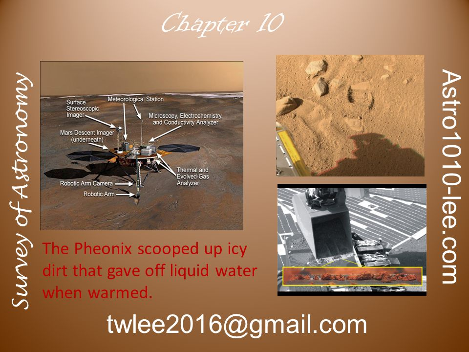 Survey of Astronomy Astro1010-lee.com twlee2016@gmail.com Chapter 10 The Pheonix scooped up icy dirt that gave off liquid water when warmed.