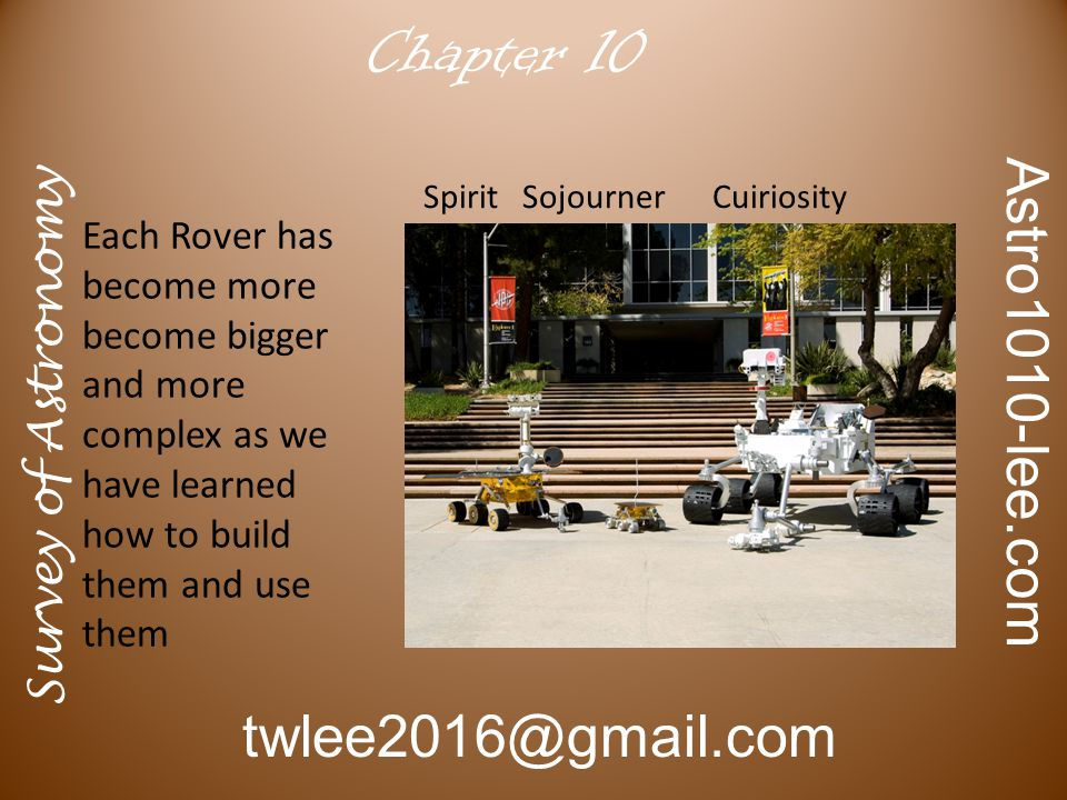 Survey of Astronomy Astro1010-lee.com twlee2016@gmail.com Chapter 10 Each Rover has become more become bigger and more complex as we have learned how to build them and use them Spirit Sojourner Cuiriosity