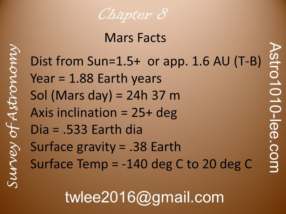 Survey of Astronomy Astro1010-lee.com twlee2016@gmail.com Chapter 10 Earth Venus Mars N 2 0.79 2 3 x 10 -4 O 2 0.20 < 0.001 10 -7 Ar 0.01 0.0052 x 10 -4 CO 2 0.0003 64 0.009 H 2 O ~ 0.02 ~ 0.01 ~10 -6 Total 1.00 90 0.01 Comparison of the Atmospheres of the Terrestrial Planets