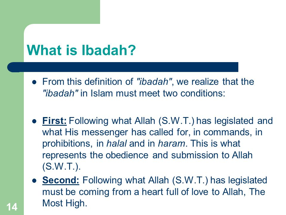What is Ibadah.