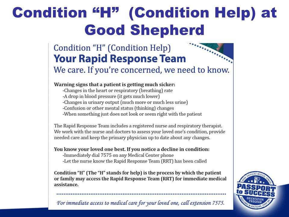 """Condition """"H"""" (Condition Help) at Good Shepherd"""