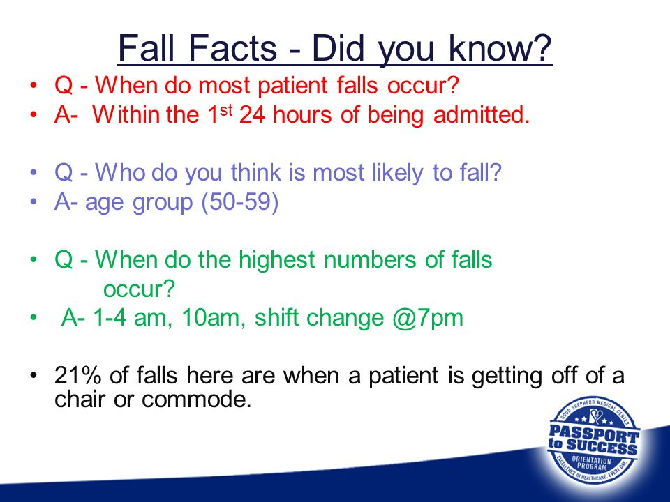 Fall Facts - Did you know? Q - When do most patient falls occur? A- Within the 1 st 24 hours of being admitted. Q - Who do you think is most likely to