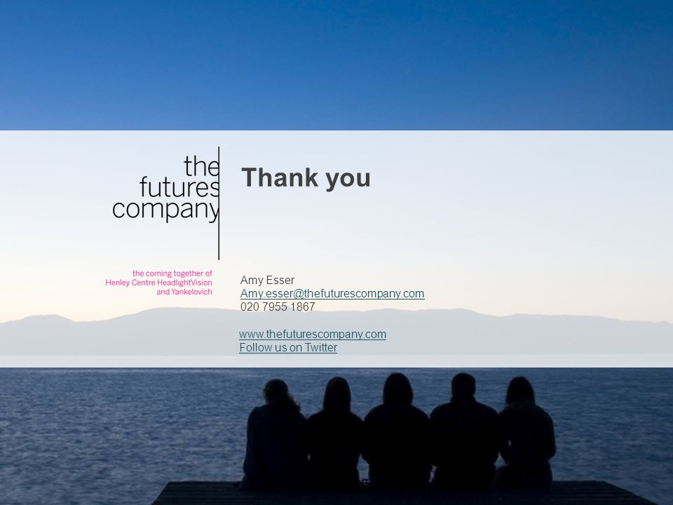 www.thefuturescompany.com Follow us on Twitter Thank you Amy Esser Amy.esser@thefuturescompany.com 020 7955 1867