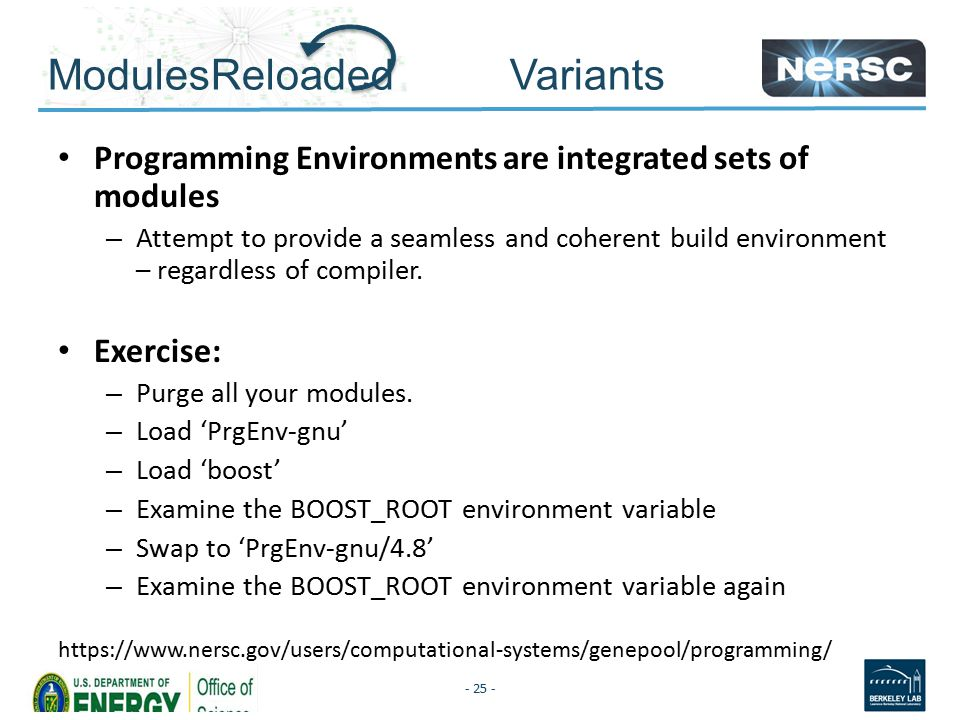 ModulesReloaded Variants Programming Environments are integrated sets of modules – Attempt to provide a seamless and coherent build environment – regardless of compiler.