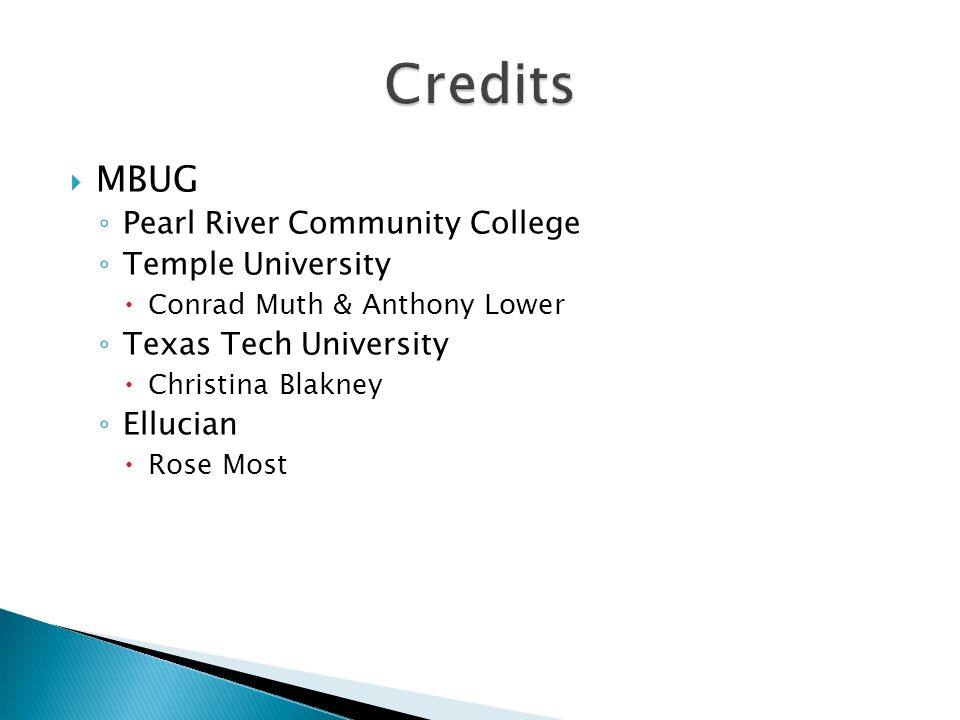 MBUG ◦ Pearl River Community College ◦ Temple University  Conrad Muth & Anthony Lower ◦ Texas Tech University  Christina Blakney ◦ Ellucian  Rose