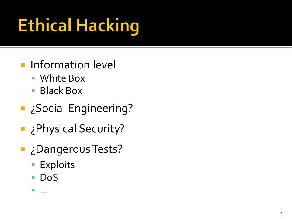  Information level  White Box  Black Box  ¿Social Engineering.