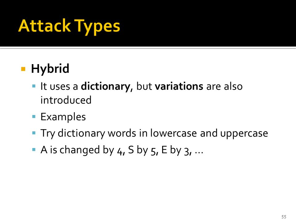  Hybrid  It uses a dictionary, but variations are also introduced  Examples  Try dictionary words in lowercase and uppercase  A is changed by 4, S by 5, E by 3,...