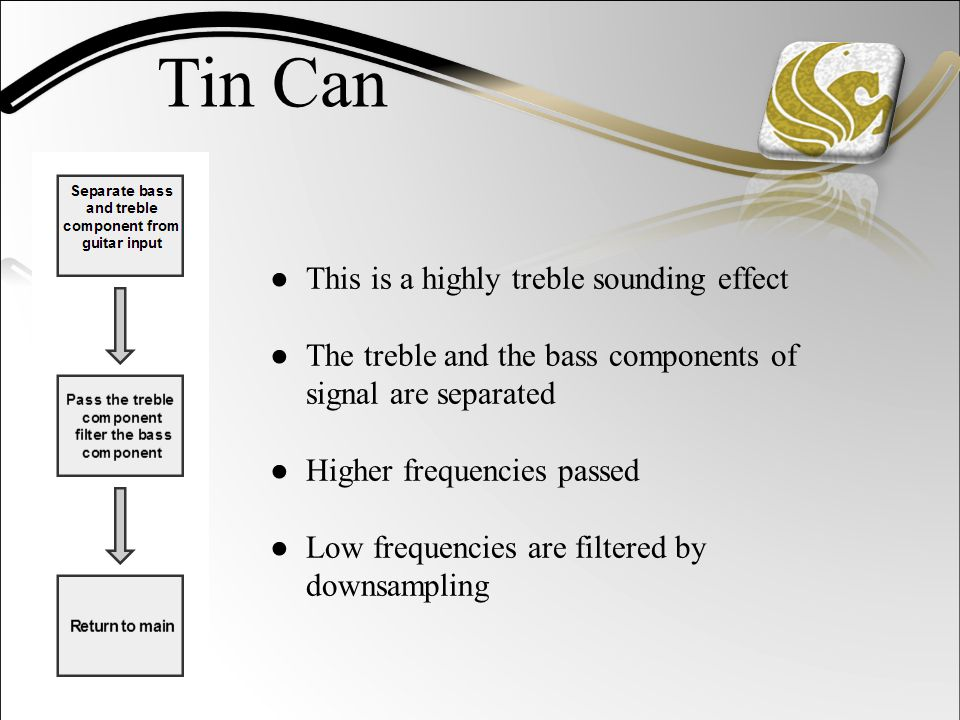 Tin Can ● This is a highly treble sounding effect ● The treble and the bass components of signal are separated ● Higher frequencies passed ● Low frequencies are filtered by downsampling