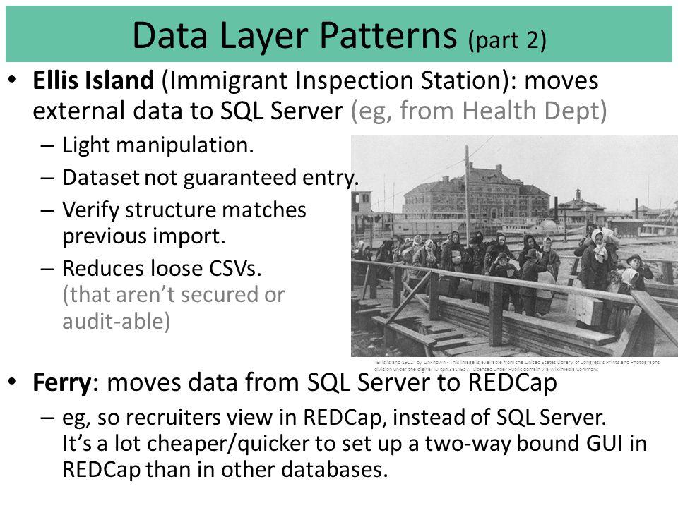 Ellis Island (Immigrant Inspection Station): moves external data to SQL Server (eg, from Health Dept) – Light manipulation.