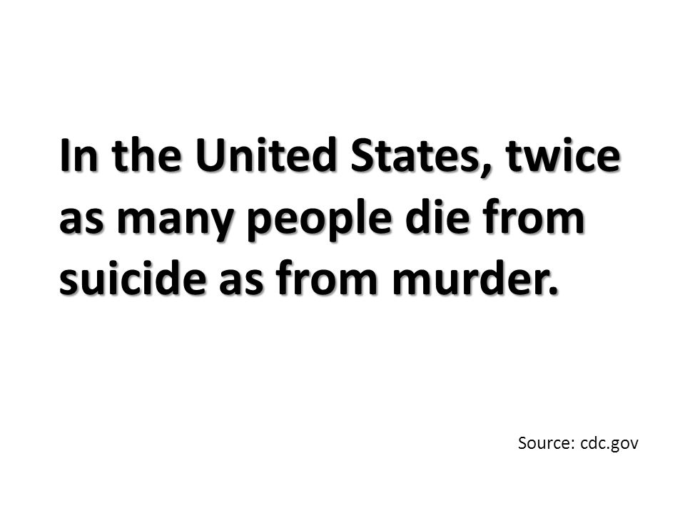 In the United States, twice as many people die from suicide as from murder. Source: cdc.gov