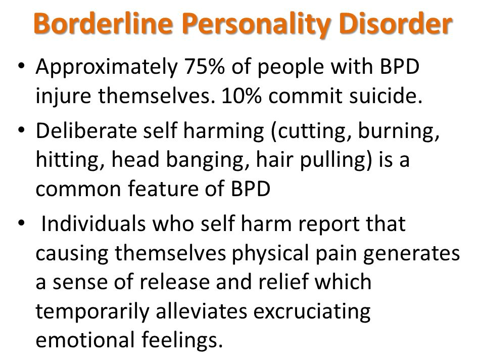 Approximately 75% of people with BPD injure themselves.